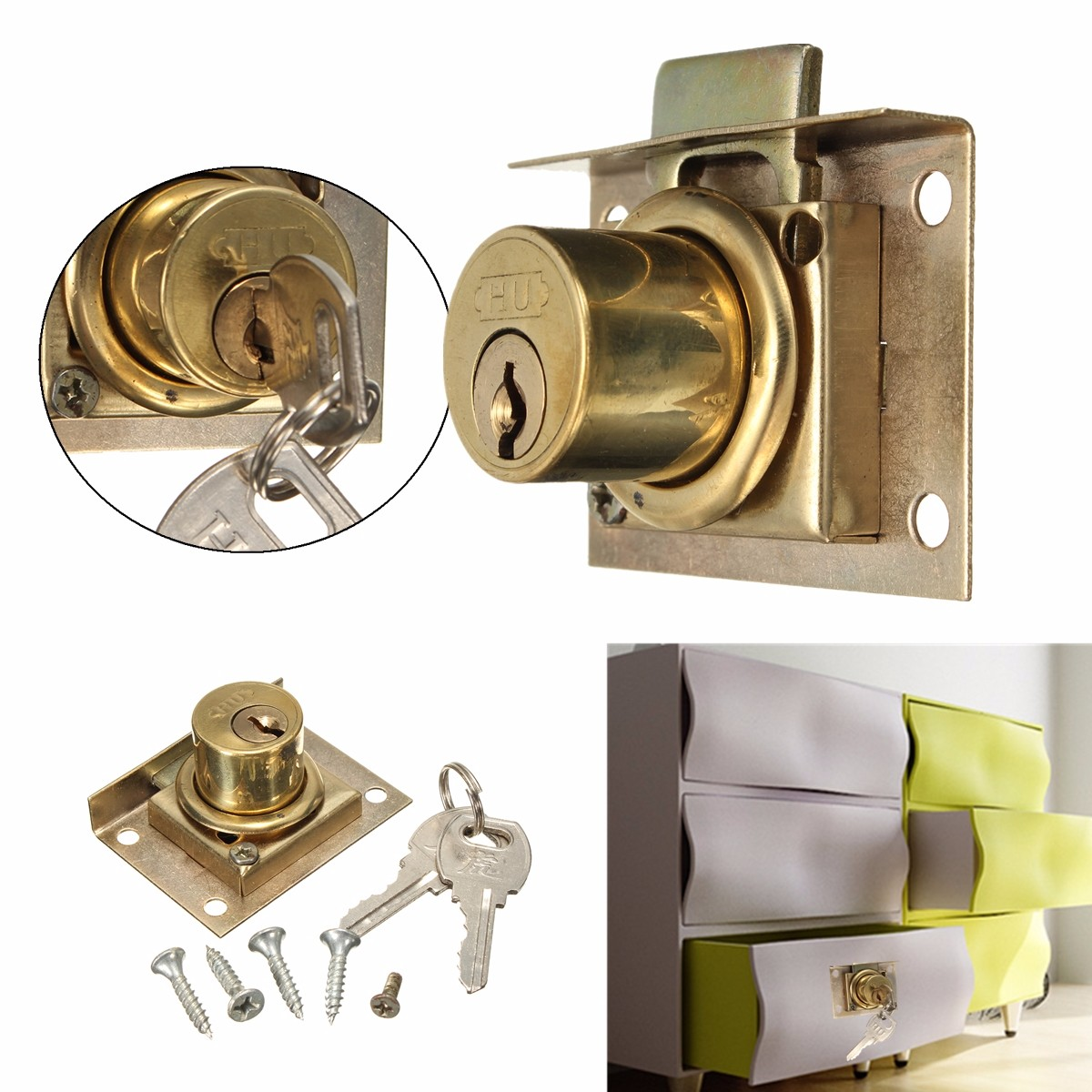 drawer lock kit with 2 keys cabinet cupboard door home office desk catch ebay. Black Bedroom Furniture Sets. Home Design Ideas