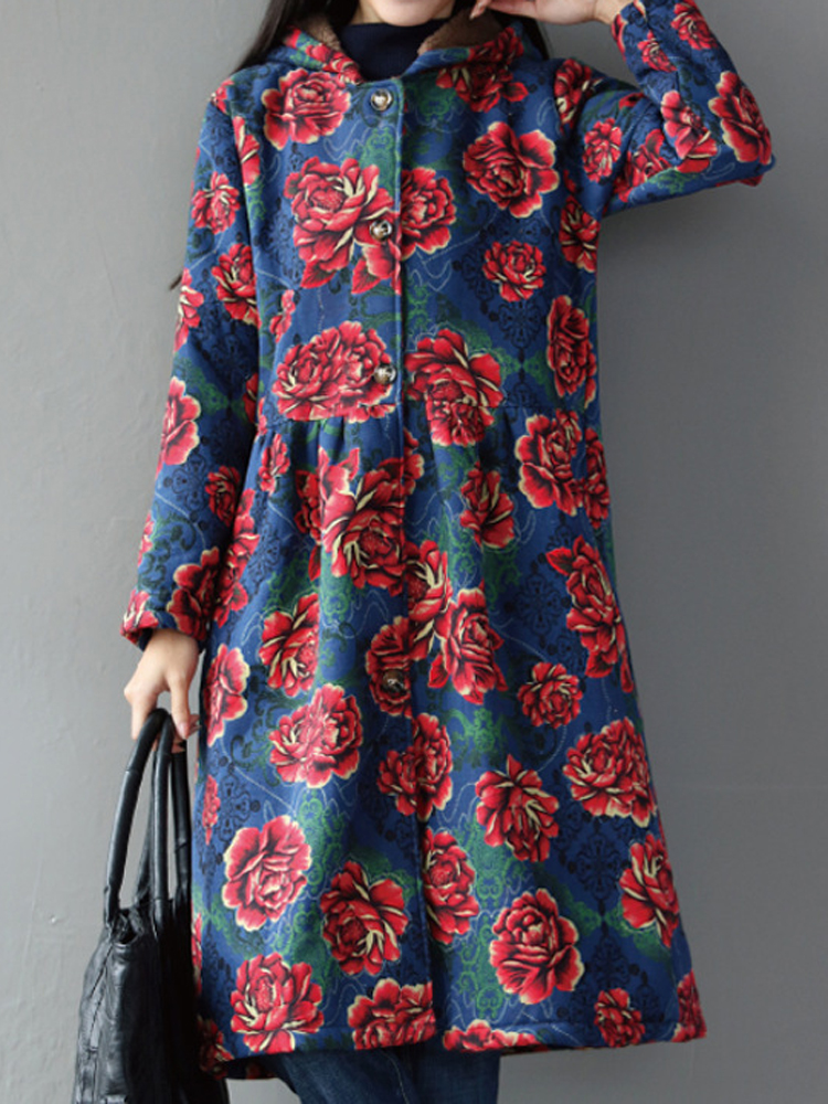 Vintage Ethic Women Long Sleeve Floral Printed Long Cardigan Coats