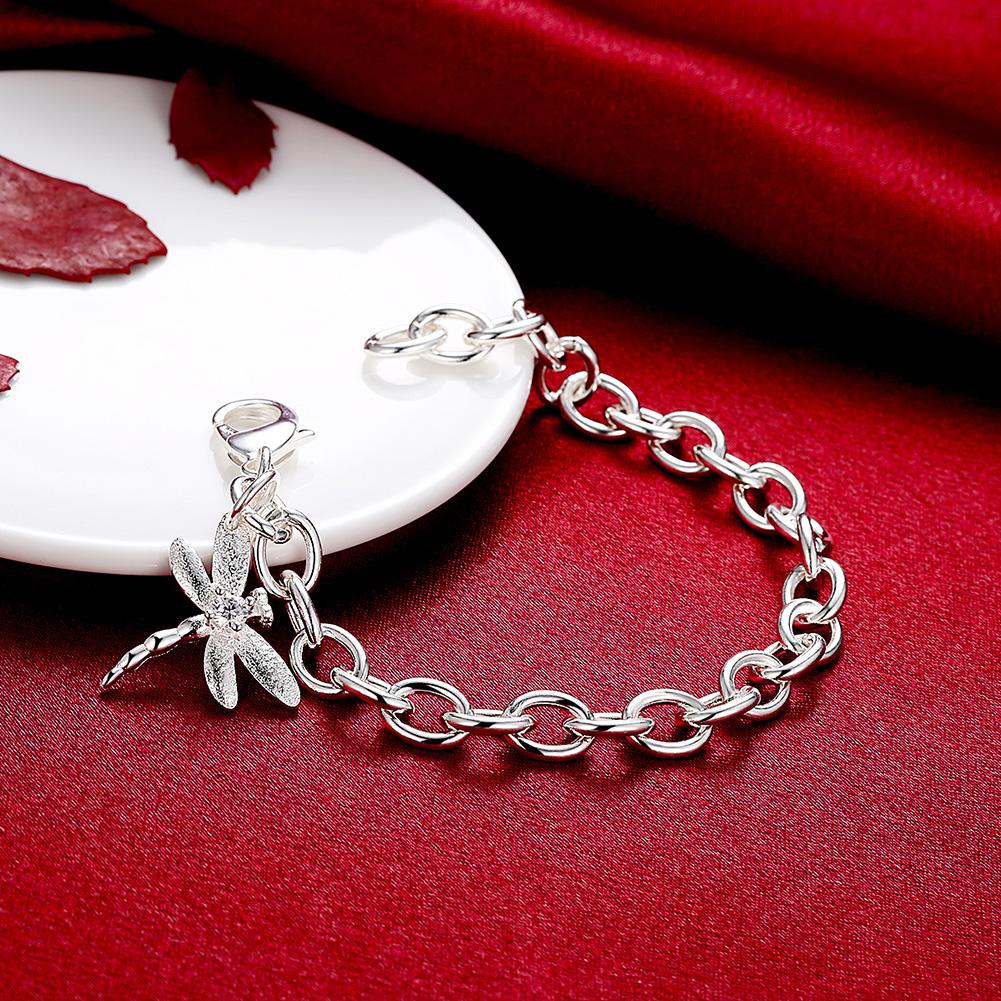YUEYIN Bracelet Simple Silver Plated Dragonfly Pendant Bracelet