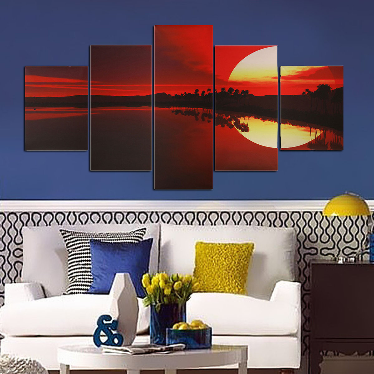 Http Www Banggood Com 5pcs Frameless Canvas Painting Red Dusk Lakeside Picture Modern Wall Art Home Decor P 1097078 Html
