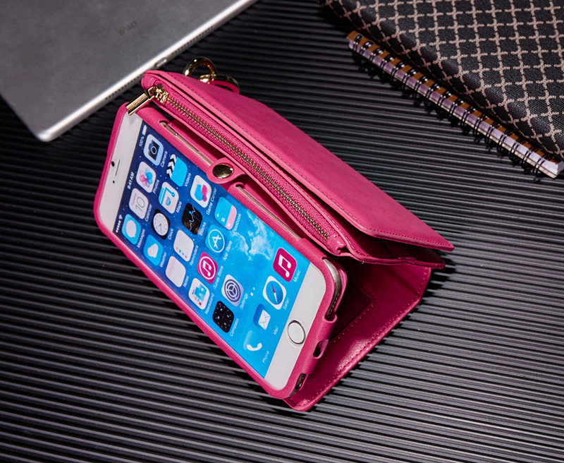 For iPhone 6 6s 4.7 Inch 2 In 1 Multi-slot PU Leather Detachable Zipper Wallet Kickstand Case