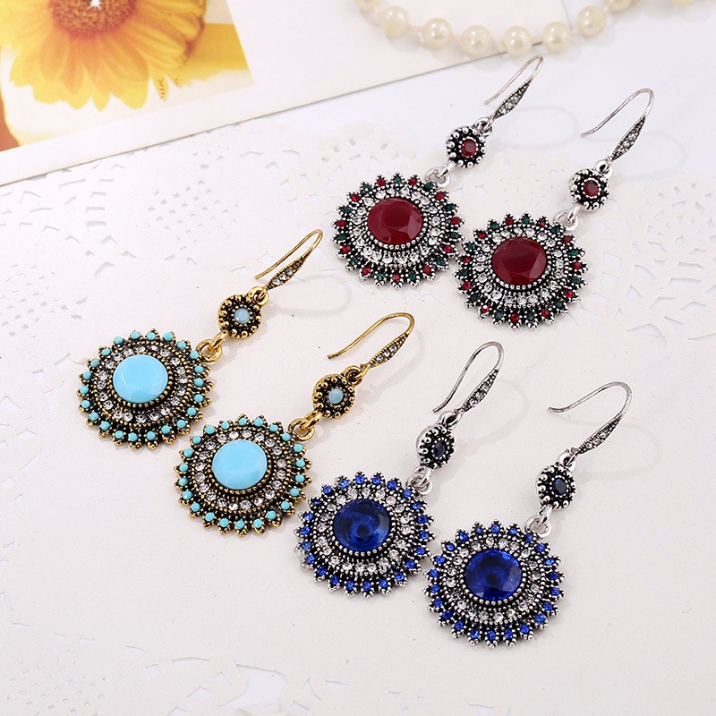 Bohemian Retro Ear Drop Turquoise Rhinestone Gift Earrings