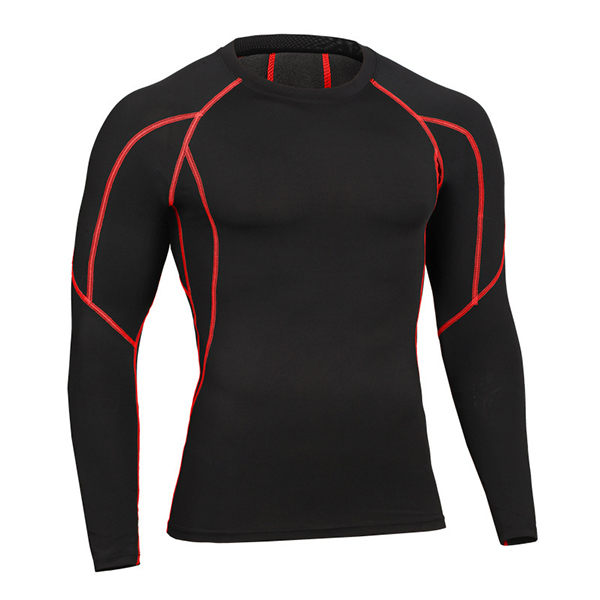 Buy Mens Fitness Elastic Quick-drying Tight Long Sleeve T-shirt Training Breathable Sport Tops
