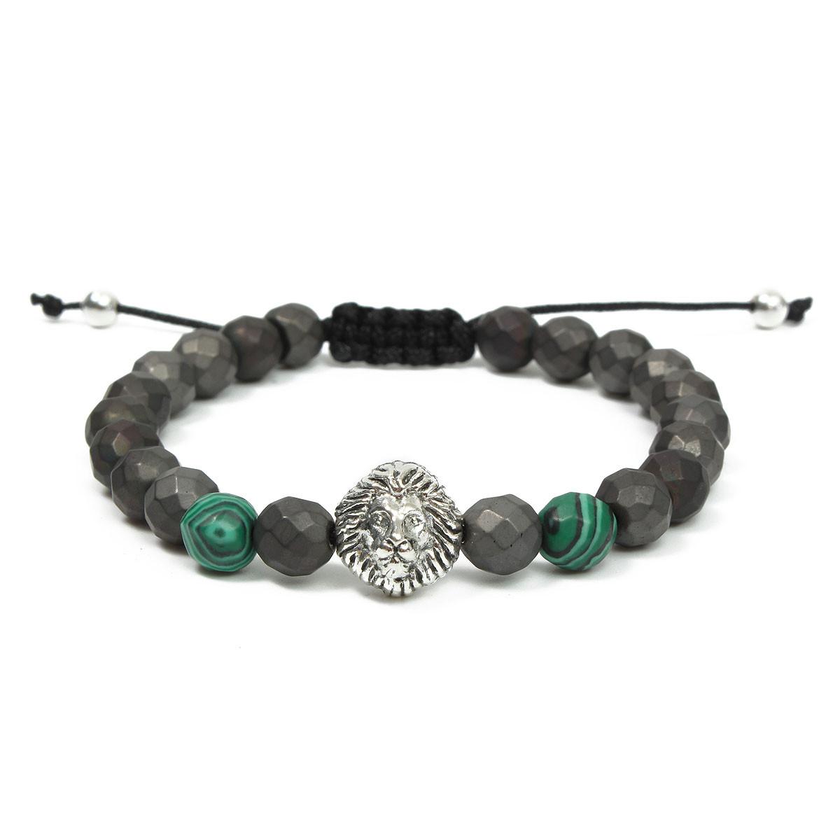 8mm Green Matte Lion Head Men Bracelet Series Jewelry Chain