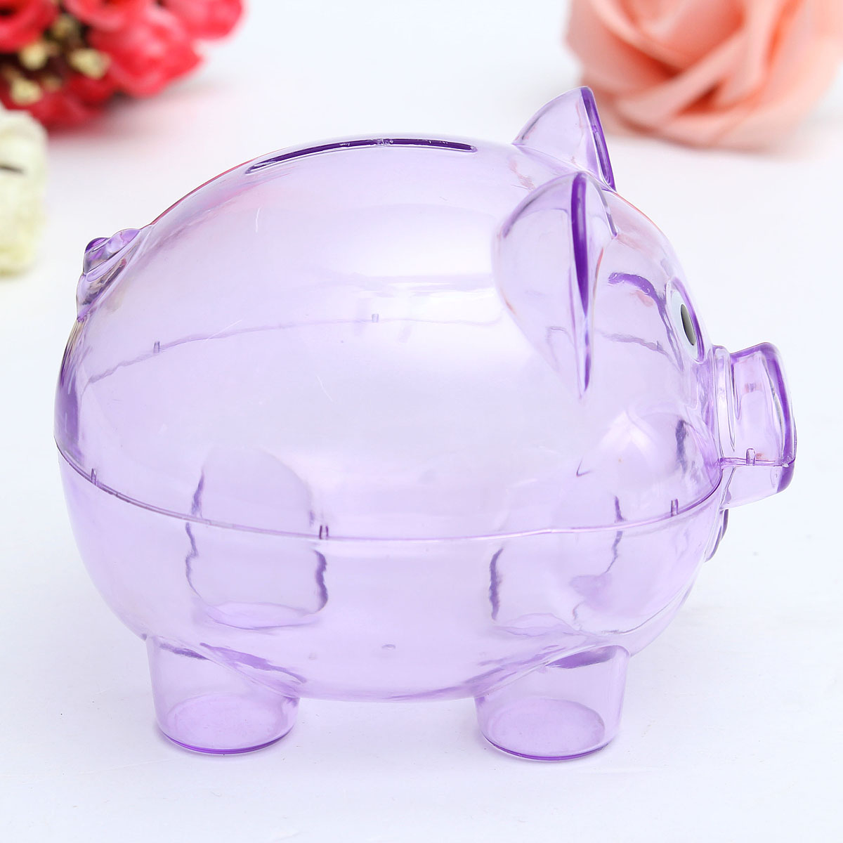 Children kids baby portable cute plastic pig clear piggy Plastic piggy banks for kids