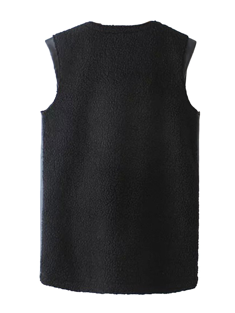 Casual Women Leather Patchwork Sleeveless Waistcoat