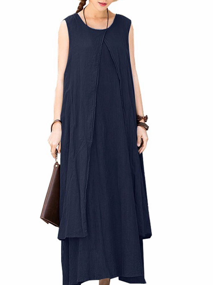 Casual Sleeveless Crew Neck Solid Color Loose Maxi Dress