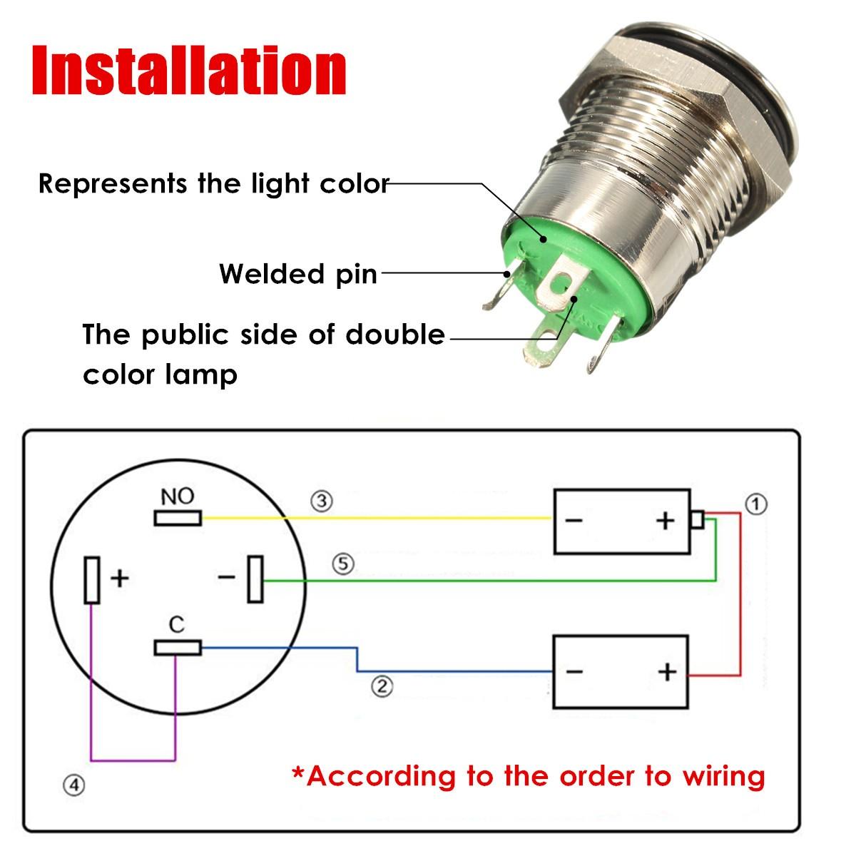 12V 2A 9.5mm Waterproof LED Metal Cap Power Momentary Push ...