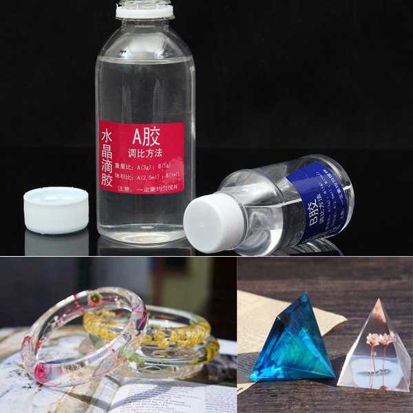 AB Transparent Epoxy Resin DIY Design Jewelry Tools Handmade Specimen Hard Plastic