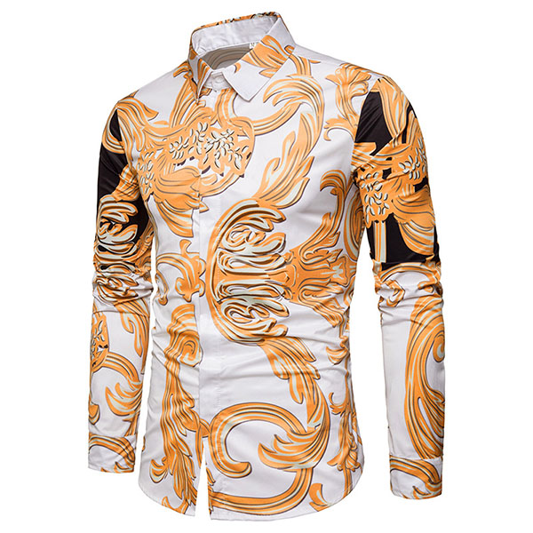 Mens Irregular Printing Leisure Fashion Fit Designer Shirt