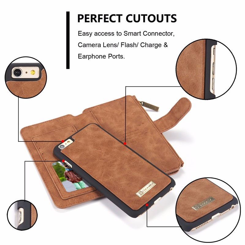 Caseme Vintage Leather Magnetic Detachable Zipper Wallet Case For iPhone 6/6s Plus 5.5 Inch