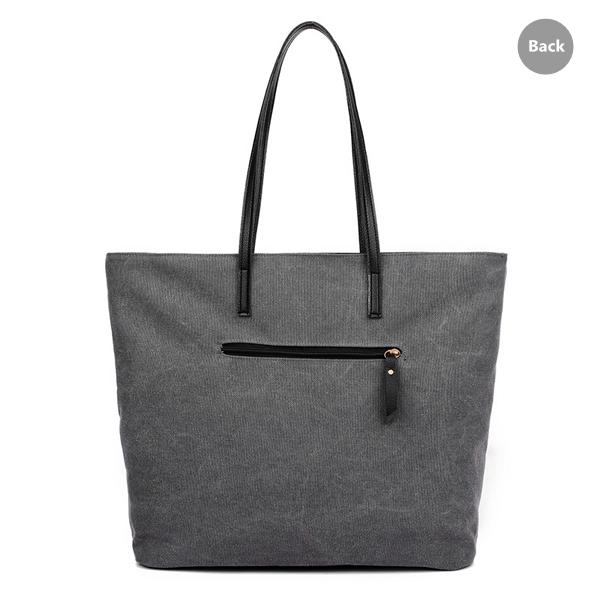 Women Casual Contrast Color Canvas Handbag Tote Large Capacity Shoulder Bag