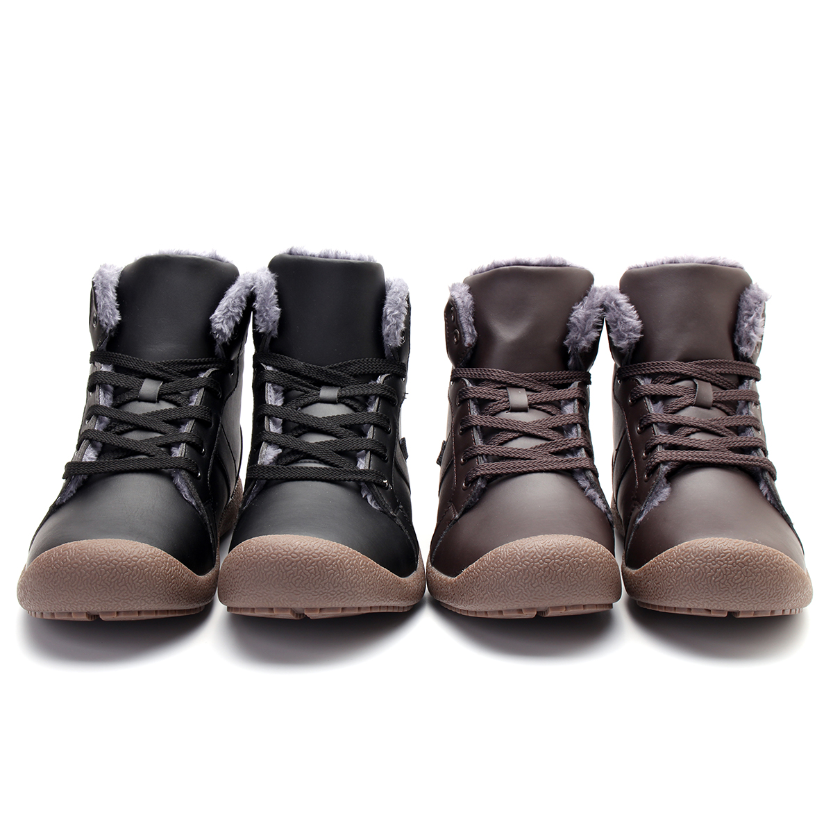 Men's Winter Warm Snow Boot Waterproof PU High Top Lace Up Comfy Sneaker Shoes