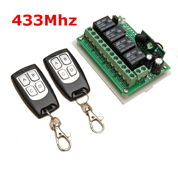 12V 4CH Channel 433Mhz Wireless Remote Control Switch With 2 Transmitter luxury interruptor cristal remote control switch smart home 2 gang 1 way touch switch black glass panel wall switch zuczug