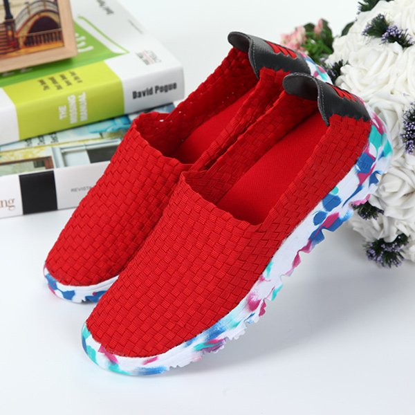 US Size 5-13 Women Hand-made Knit Shoes Casual Breathable Comfortable Walking Shoes Outdoor Flats