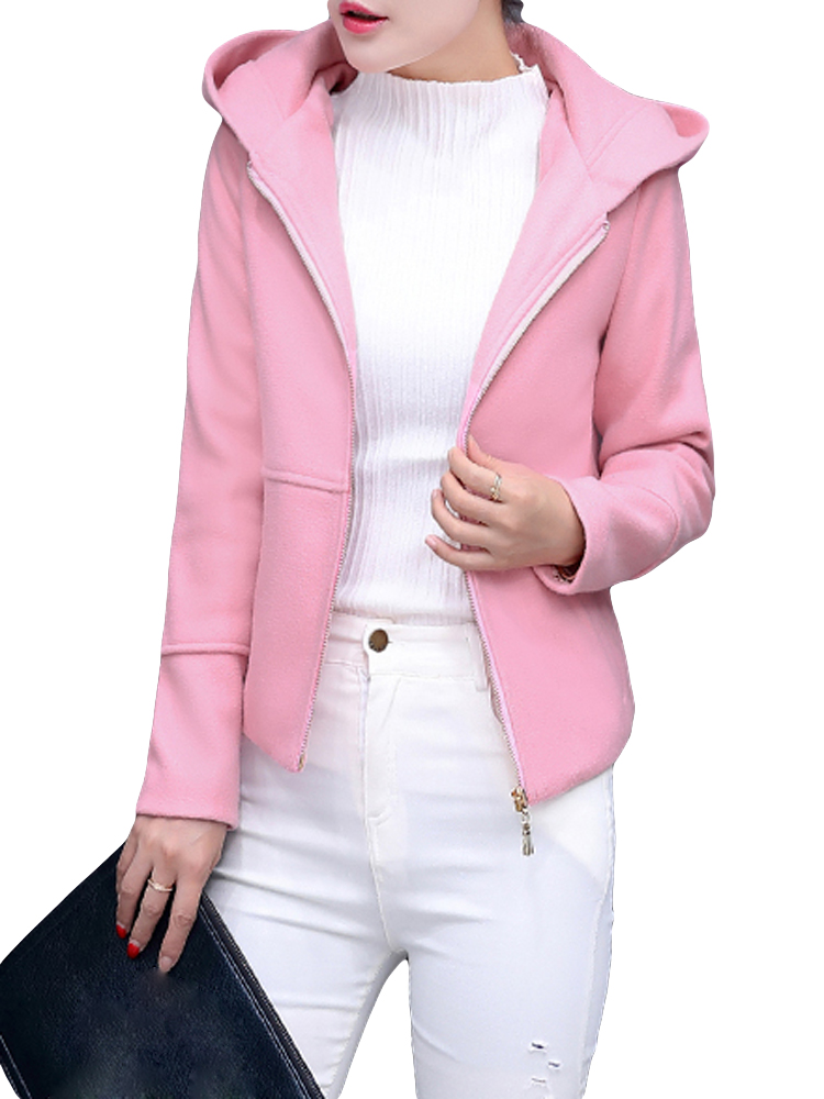 Casual Solid Hooded Long Sleeve Zipper Woolen Women Jacket