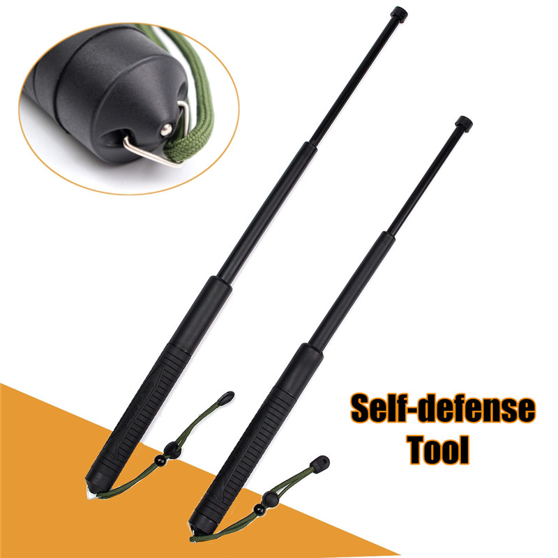 Professional Outdoor Self-defense Tool Retractable Telescopic Rubber Black