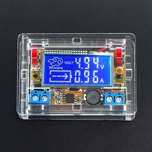 DC-DC Step Down Power Supply Adjustable Module With LCD Display With Housing Case dc 5 32v to dc 1 25 20v 5a automatic buck step down module blue