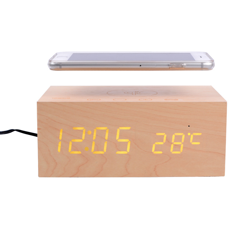 Buy UGpine X5 NFC Wooden Wireless Charger Bluetooth Clock Dual USB Ports Speaker Box For Samsung iPhone