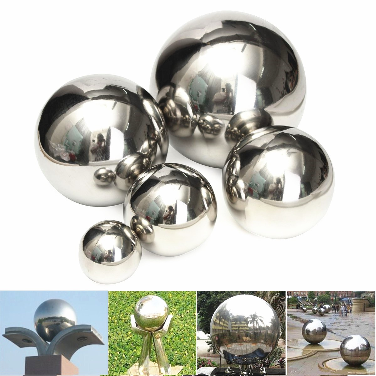 Stainless Steel Mirror Ball Polished Hollow Ball Hardware Accessories 5/8/10/12/15cm polished metal sign brushed stainless steel sign golden mirror finished metal letter