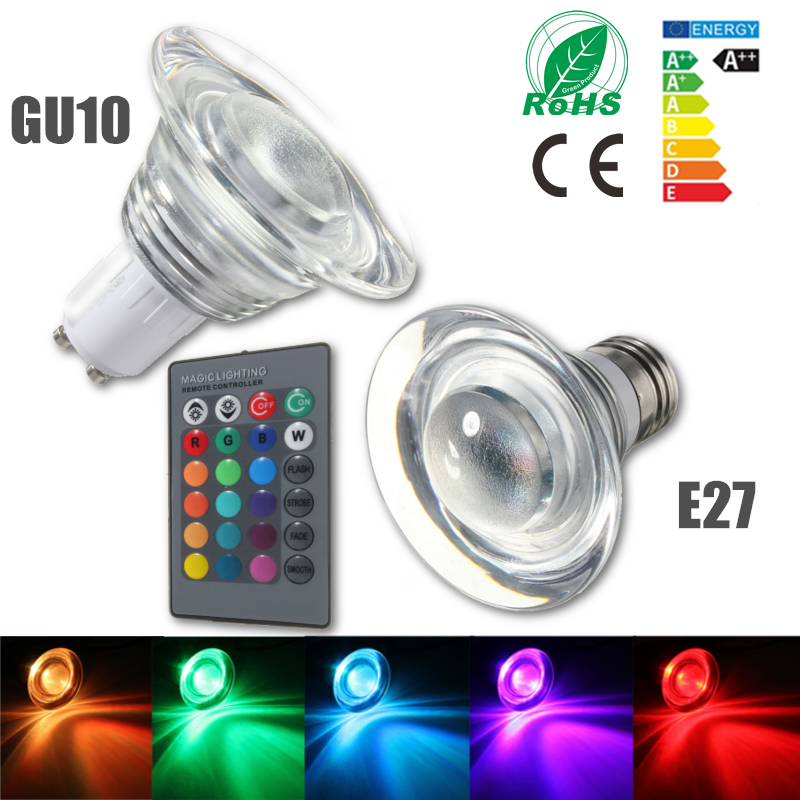 E27/GU10 4W Color Changing RGB LED Magic Bulb Lamp Spot Light Remote 85-265V