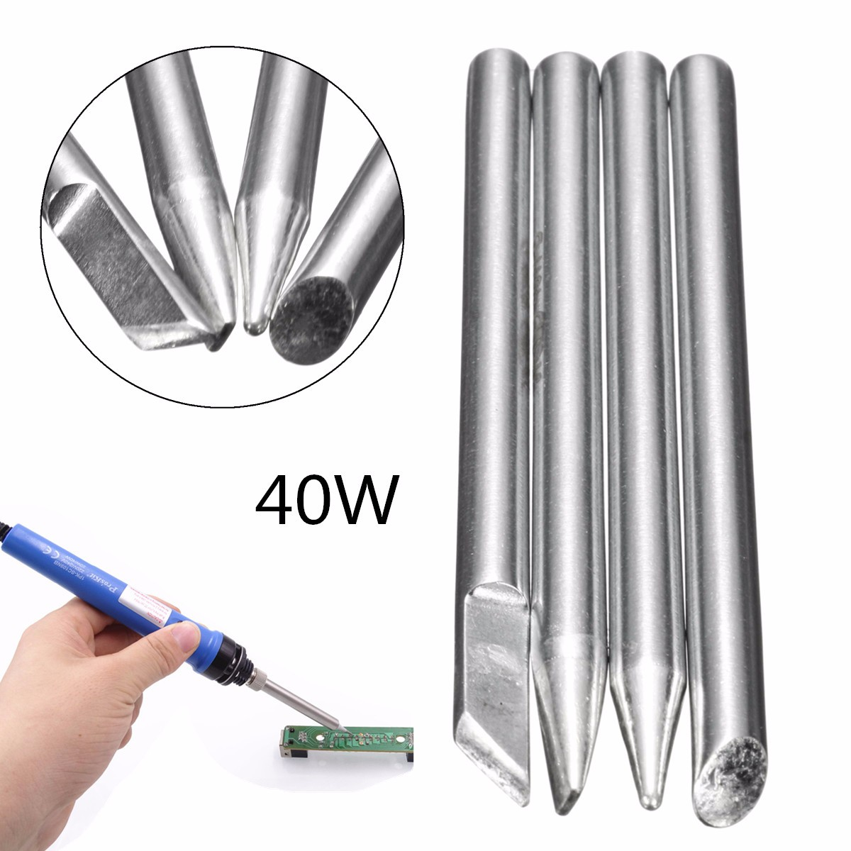4pcs electric soldering iron tips head replaceable 4mm shank for 40w solder i. Black Bedroom Furniture Sets. Home Design Ideas
