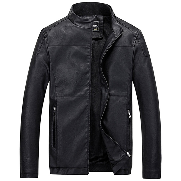 Buy Autumn Winter Tough-man Style Motorcycle Artificial Leather Jacket Fleece Thicken Coat 3 Color