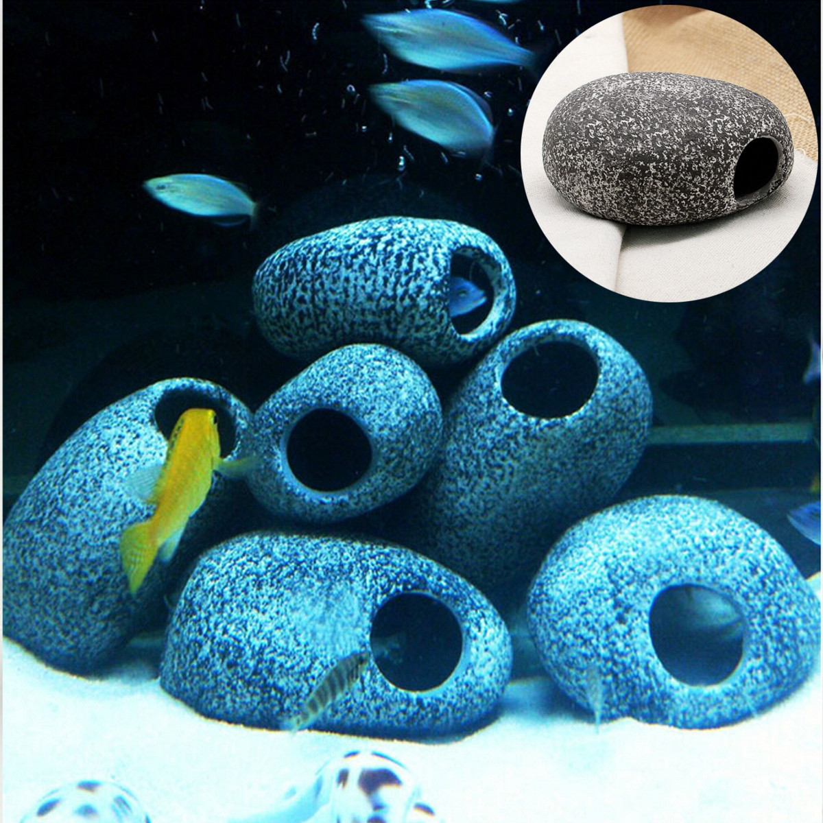 Aquarium Cichlid Stones Ceramic Rock Cave Ornament Fish Tank Decoration