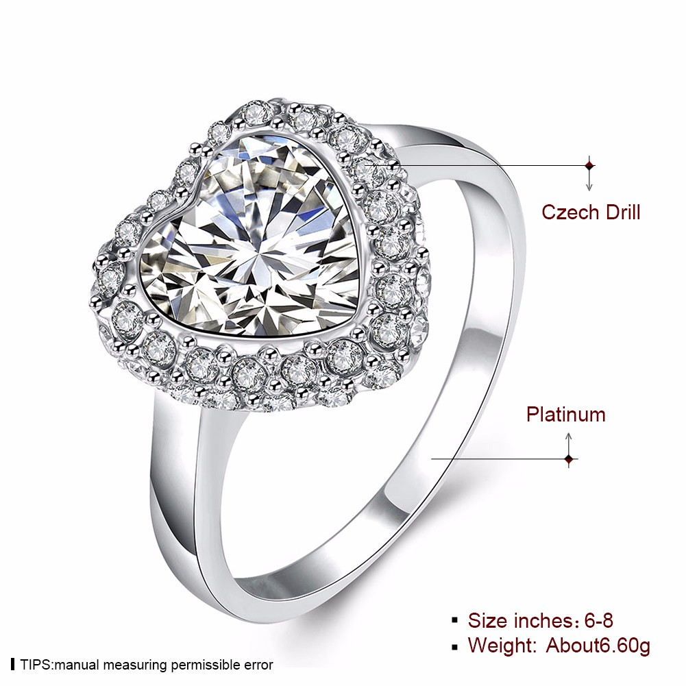 Platinum Heart Crystal Full Rhinestone Wedding Ring Gift for Women