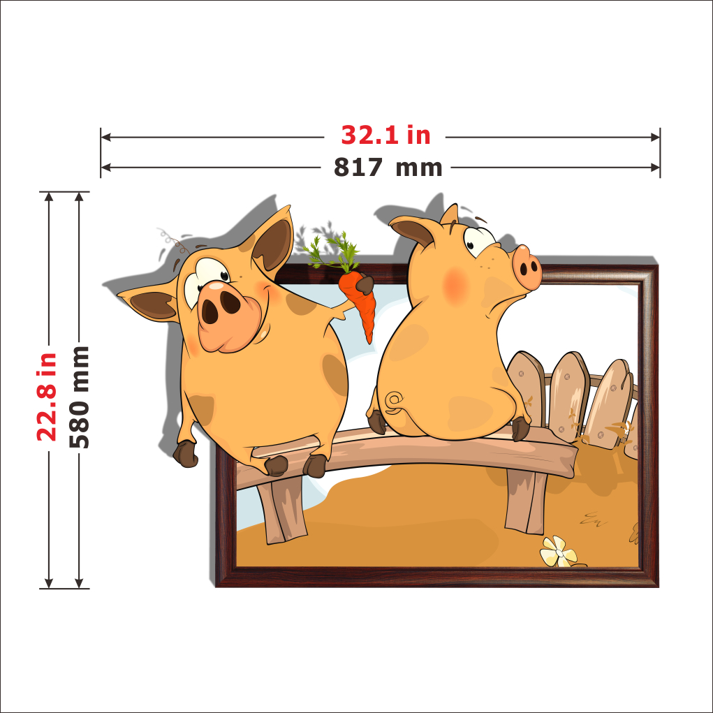 3d cartoon piggy garten wand aufkleber 2044 3d. Black Bedroom Furniture Sets. Home Design Ideas