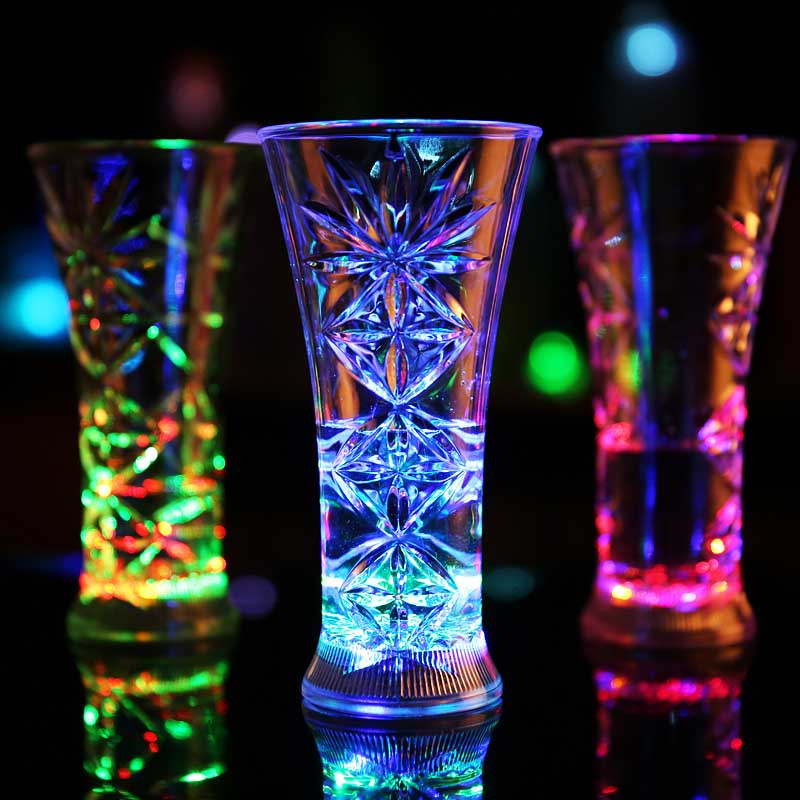 Inductive Glowing LED Drinking Beer Snow Glass Cup Bar Club Beverage Cup Night Light Cup