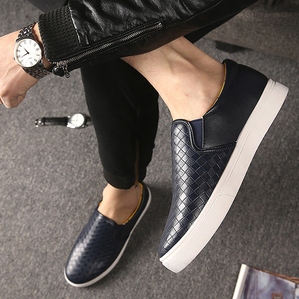 Men Pu Plaid Check Pure Color Confortable Slip On Outdoor Casual Flat Loafers Lazy Shoes