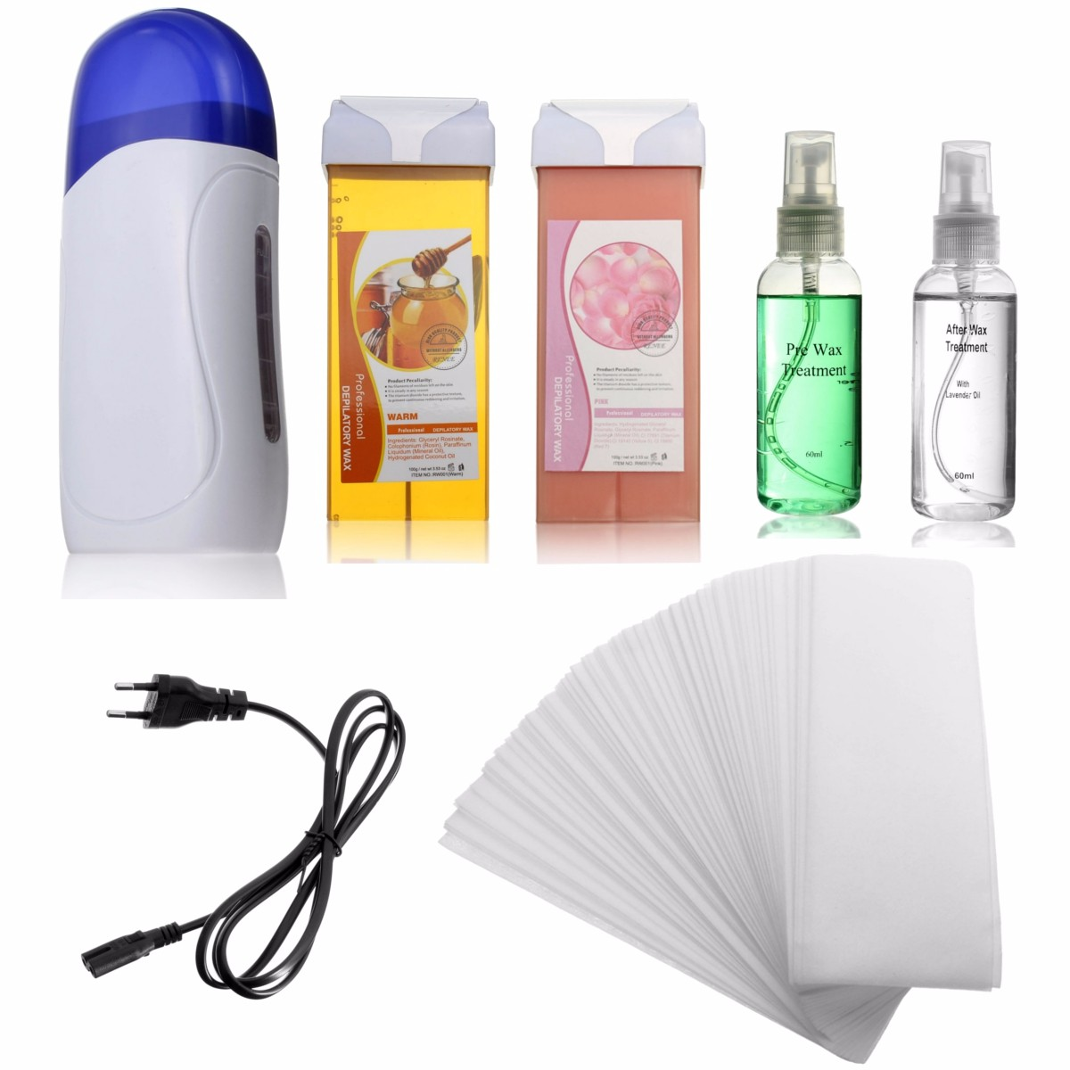 Electric Depilatory Waxing Machine Kit Cartridge Heater Roller Strips Hair Removal