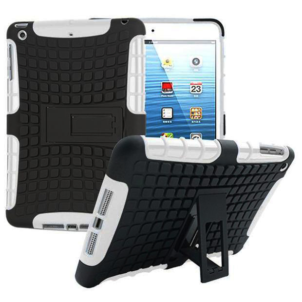 Heavy Duty Shockproof Anti-skid Stand Case Hybrid Soft Hard Case Cover For iPad Mini 1/2/3