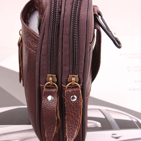 Men Genuine Leather Multifunctional Phone Slot Waist Bag