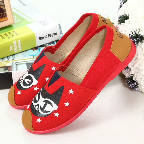 Women Leisure Flat Shoes Slip On Driving Lazy Loafers Cat Pattern Shoes коврик пазл флексика 4 элемента