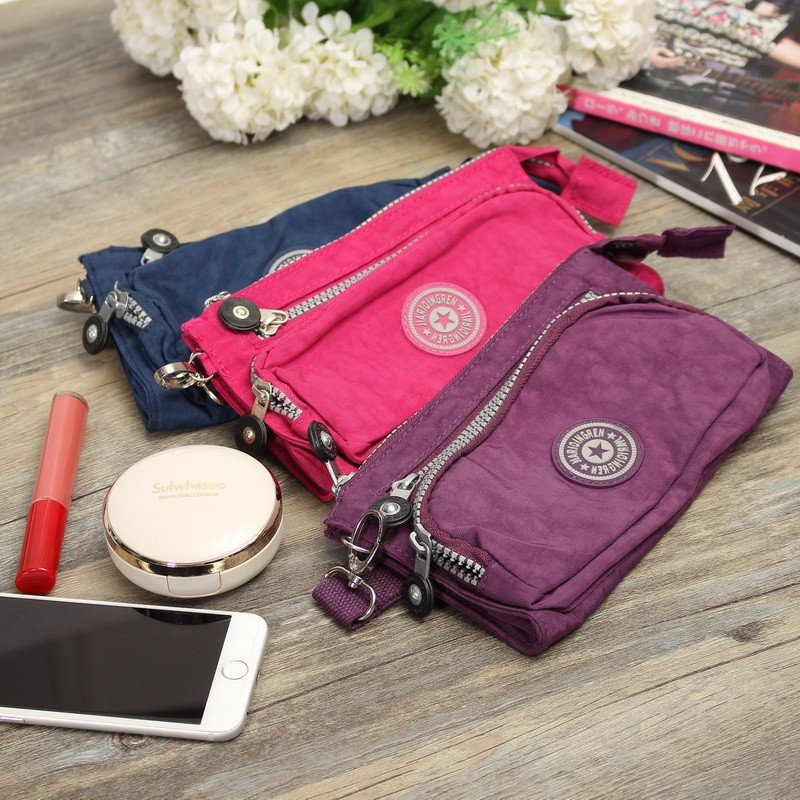 Women Nylon Lightweight Zipper Portable Waterproof Storage Coin Card Clutches Bags Purse For iPhone