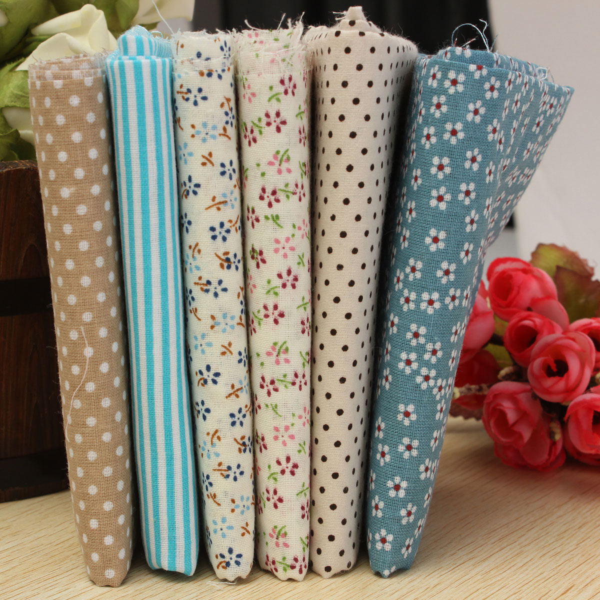 6pcs 50x50cm cotton mixed color sewing fabric dolls purse for Cotton sewing material
