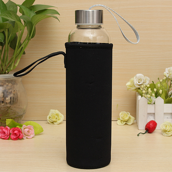 BPA Glass Outdoor Sport Water Bottle With Tea Filter Protective Bag 550ml