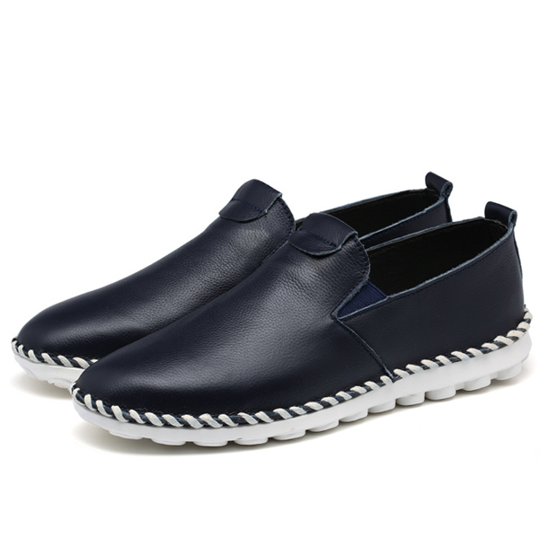 Men Casual Outdoor Shoes Slip On Leather Fashion Flats Loafers
