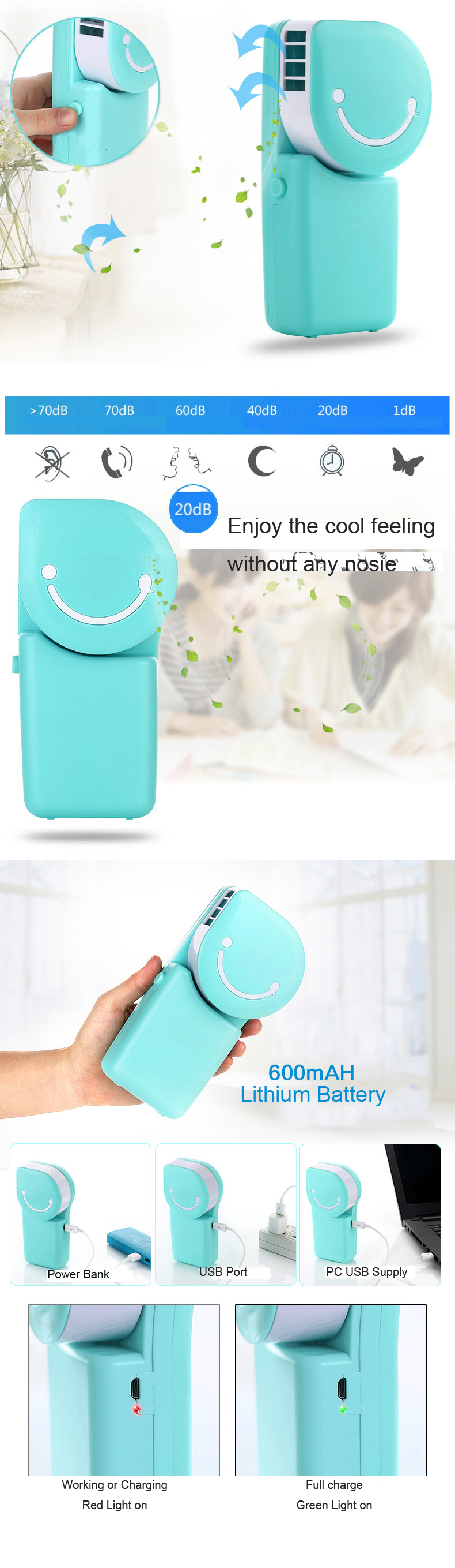 Loskii LX-882 Summer Mini Fan Cooling Portable Air Conditioning USB Charge Hand-held Cool Fan 22