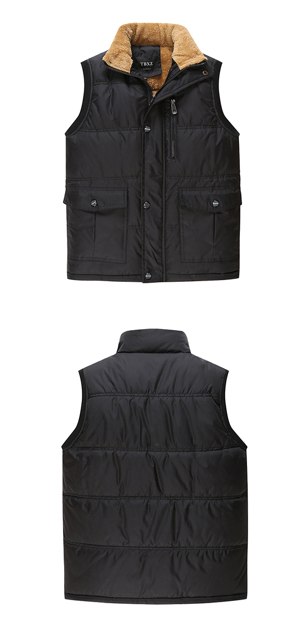 Mens Big Size Stand Collar Solid Color Winter Coat Padded Thick Multi-pocket Vest