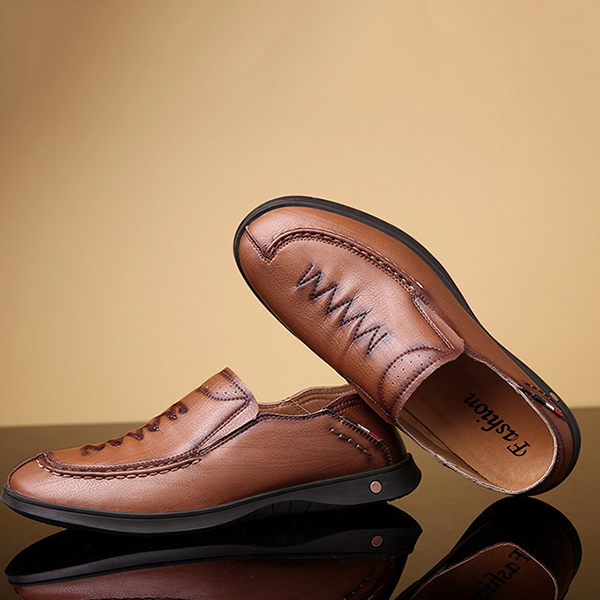 Men Casual Business Hand Stitching Slip On Leather Oxfords Shoes