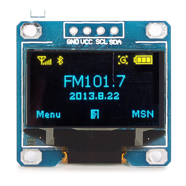 0.96 Inch 4Pin Blue Yellow IIC I2C OLED Display Module For Arduino 0 96 inch yellow blue dual color oled display 12864 lcd screen module spi iic 3 3 5v interface