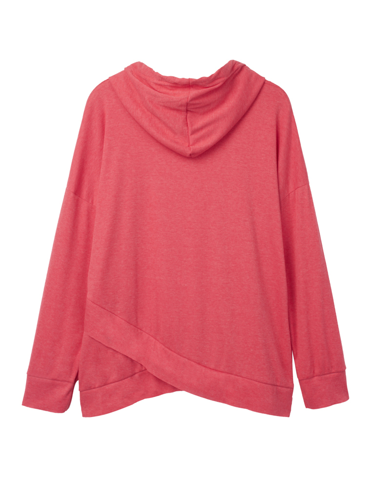 Red Casual Women Long Sleeve Irregular Hooded Sweatshirt