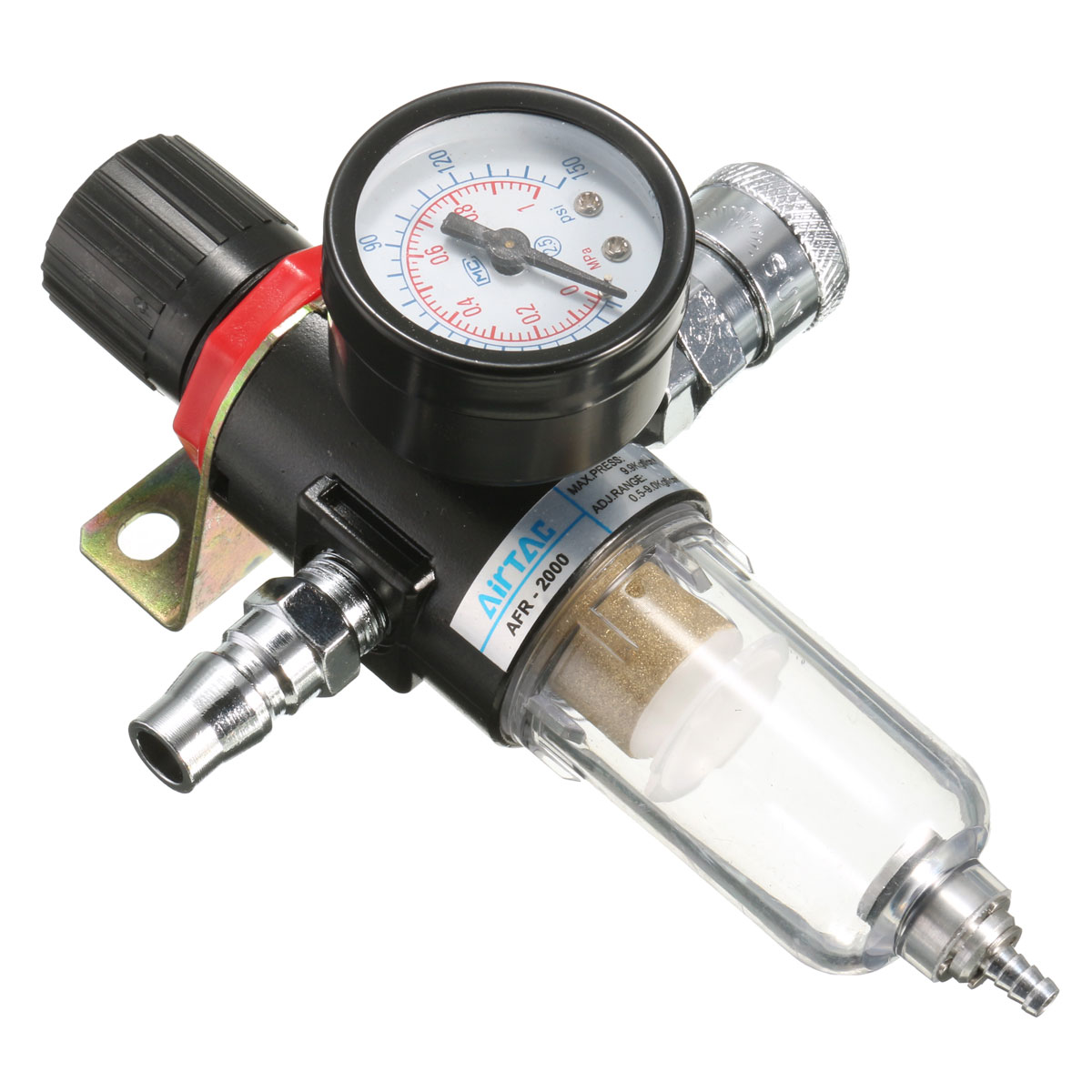 AFR-2000 1/4' Air Compressor Filter Water Separator Trap Tools Kit With Regulator Gauge