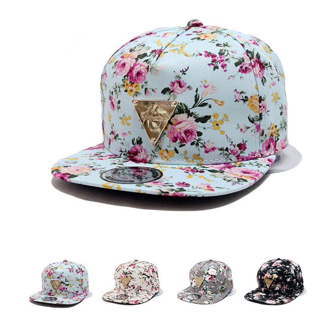 Floral Flower Hip Hop Snapback Hats Flat Adjustable Baseball Cap 2017 new fashion brand breathable v ring black snapback caps strapback baseball cap bboy hip hop hats for men women fitted hat
