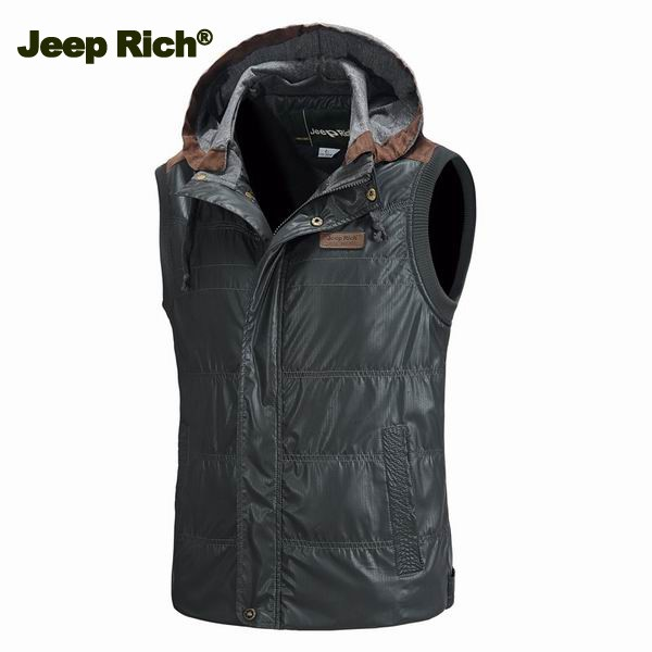 Jeep Rich Mens Cotton Padded Detachable Hooded Sleeveless Vest Stand Collar Warm Waistcoat