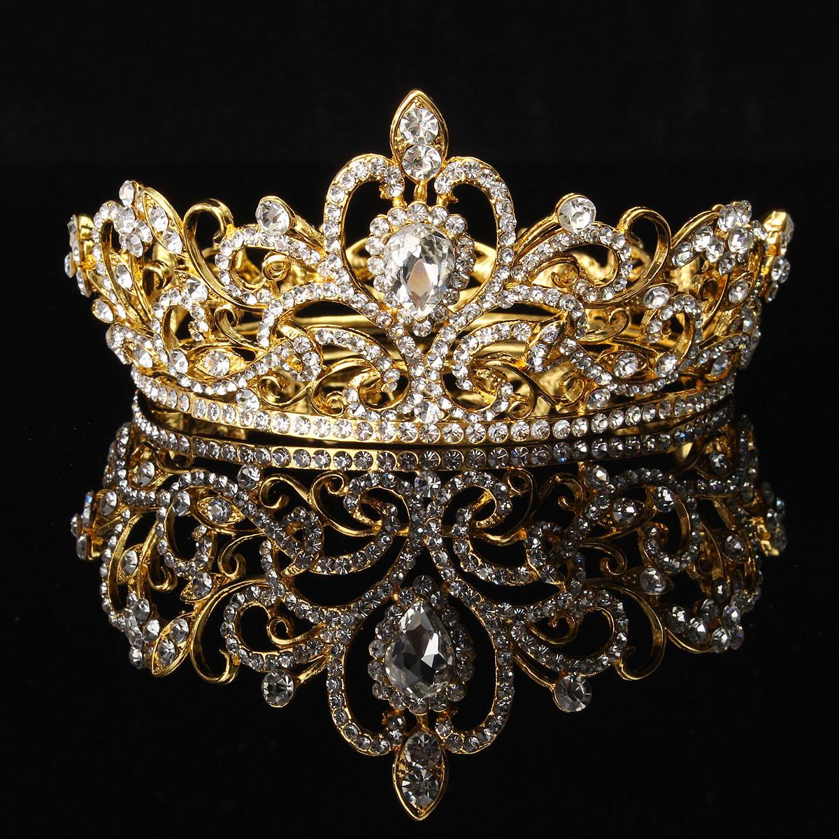 Bride Gold Silver Rhinestone Crystal Crown Tiara Head ...