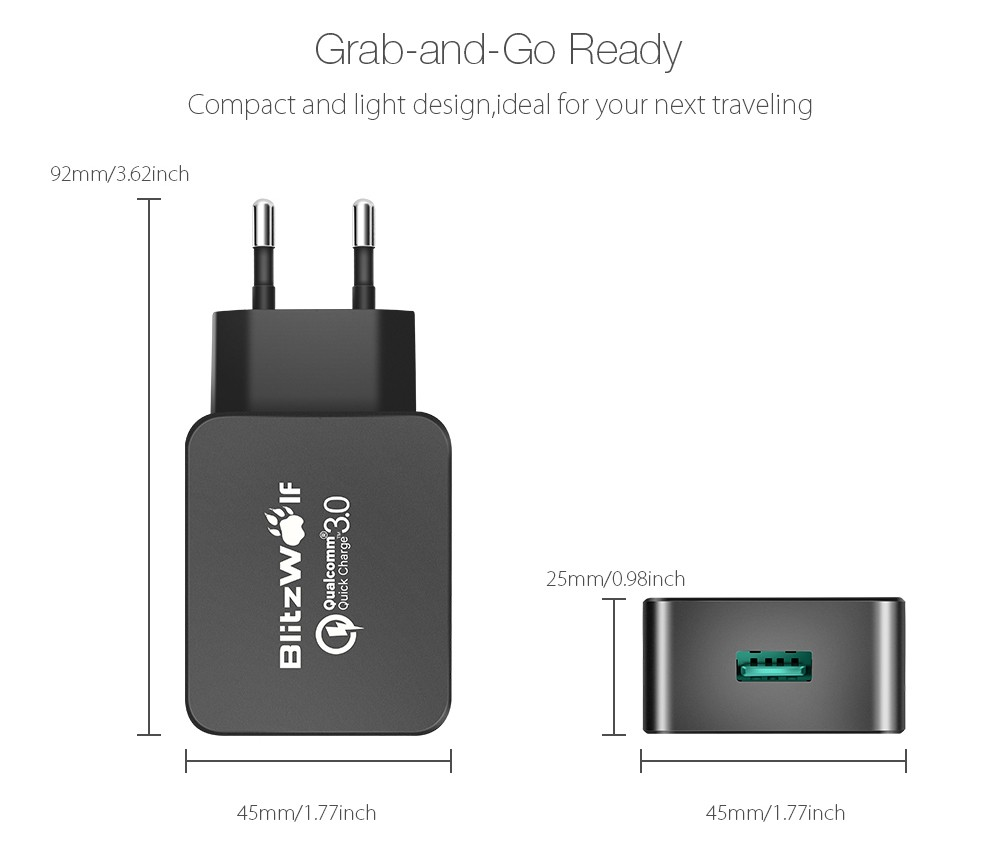 BlitzWolf® BW-S5 QC3.0 18W [Qualcomm Certified] USB Charger EU Adapter With Power3S Tech - Visiocology.com